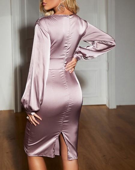 Lantern Sleeve Button Front Satin Midi Dress