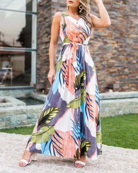 Floral Full Print V-Neck Sleeveless Straight Long Dress