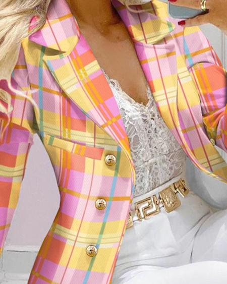 Plaid Print Lapel Collar Double Breasted Blazer Elegant Work Blazer Coat