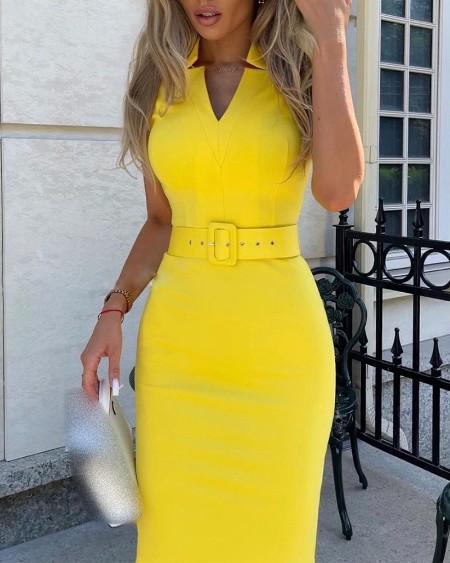 V-Cut Short Sleeve Skinny Midi Dress With Belt