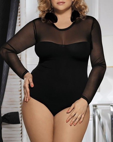 Plus Size Sheer Mesh Long Sleeve Teddy