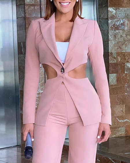 Single Button Cutout Waist Blazer Coat & Pants Set