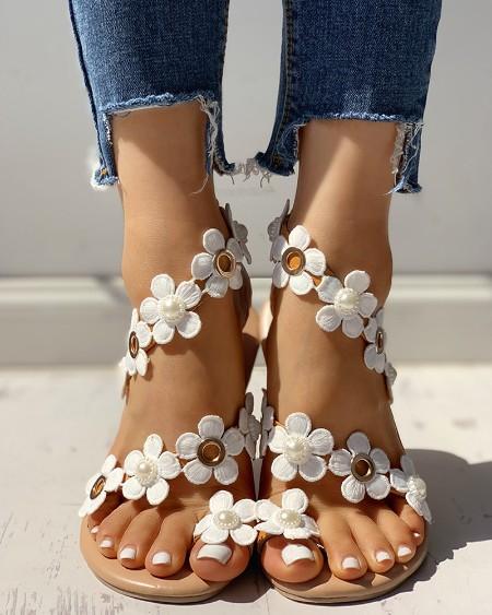 Floral Embellished Toe Ring Casual Sandals