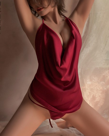 Self Tie Backless Satin Slips With Thong