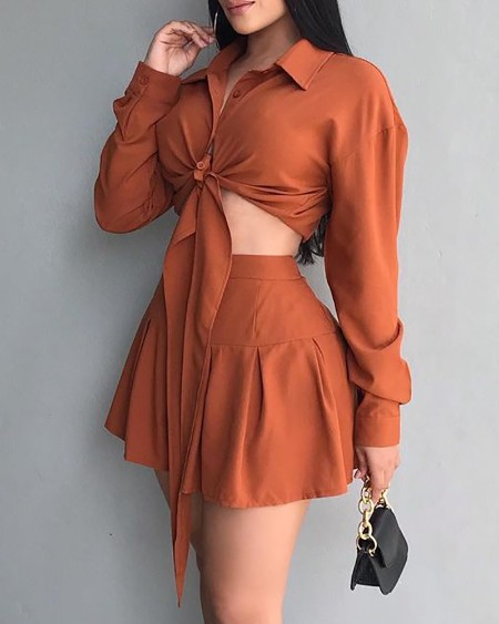 Long Sleeve Buttoned Tied Detail Top & Pleated Skirt Set