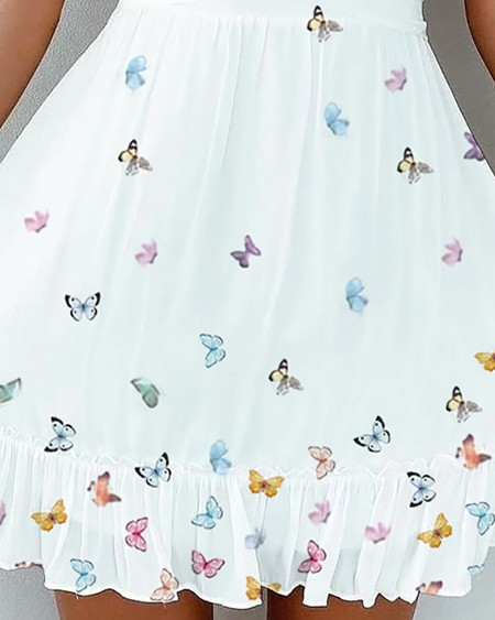 Spaghetti Strap Ruched Butterfly Print Dress