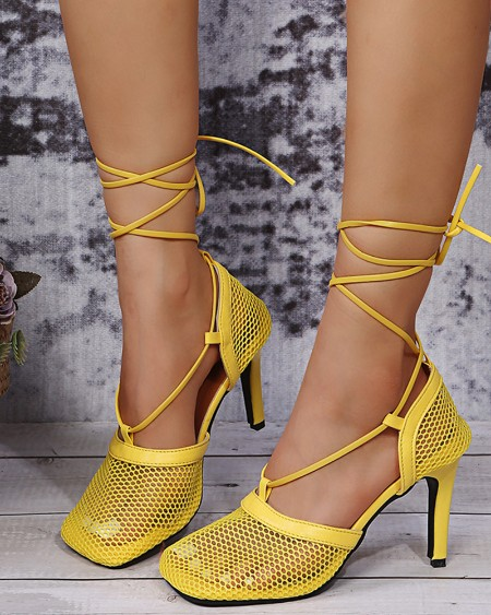 Square-toe Fishnet Strappy High Heels