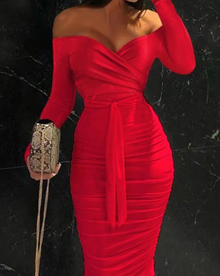 Off Shoulder Ruched Belted Bodycon Dress