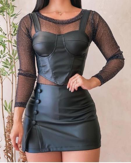 PU leather Hanky Hem Crop Cami Top & Button Decor Skirt Set