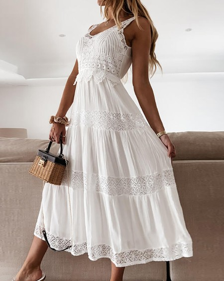 Guipure Lace Patch Thick Strap Casual Dress