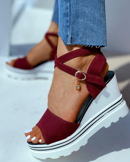 Peep Toe Solid Wedge Heeled Sandals