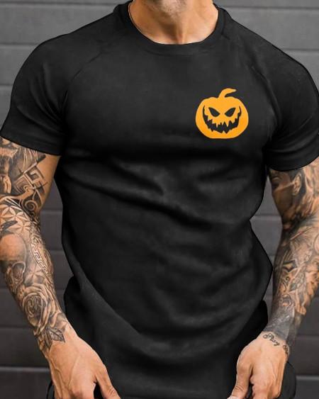 Mens Halloween Breast Pumpkin Printed Short Sleeve T-Shirt