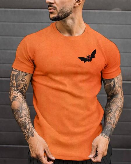 Fashion Mens Halloween Breast Bat Printed Short Sleeve T-Shirt