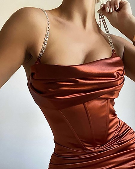 Chain Strap Ruched Satin Corset Bodycon Dress
