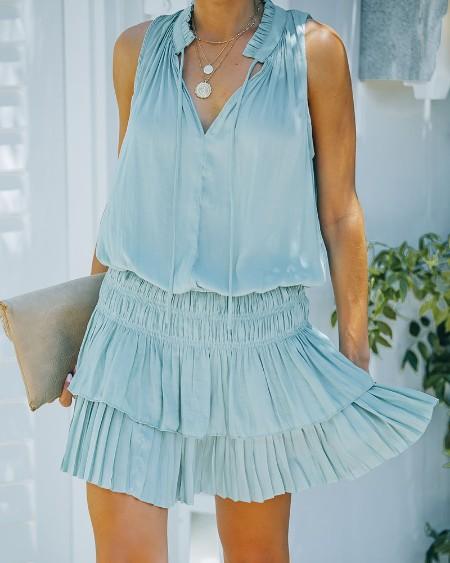 Solid Color Pleated Ruffle Hem Sleeveless Mini Dress