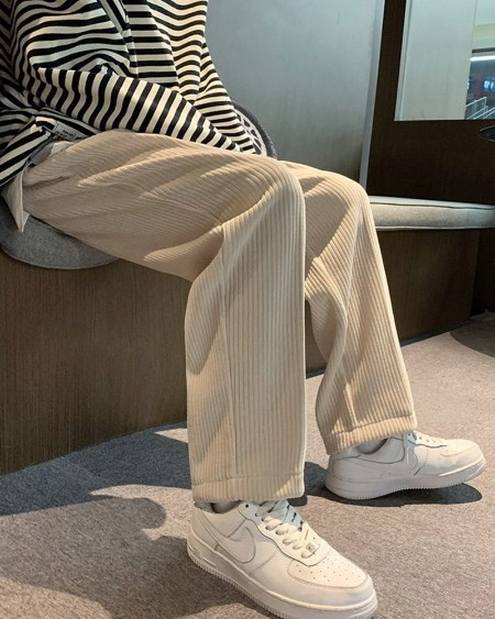 Solid Loose Wide Leg Corduroy Pants