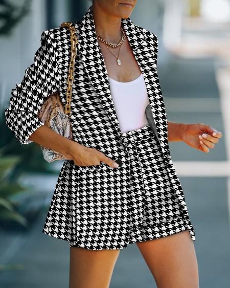Houndstooth Print Long Sleeve Blazer Coat & Shorts Set