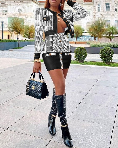 Houndstooth Print Long Sleeve Tweed Coat & Buttoned Skirt Set