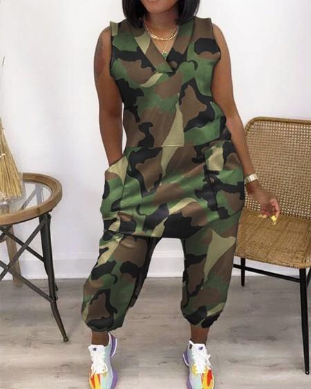Camouflage Sleeveless Pocket Design V-Neck Jumpsuit