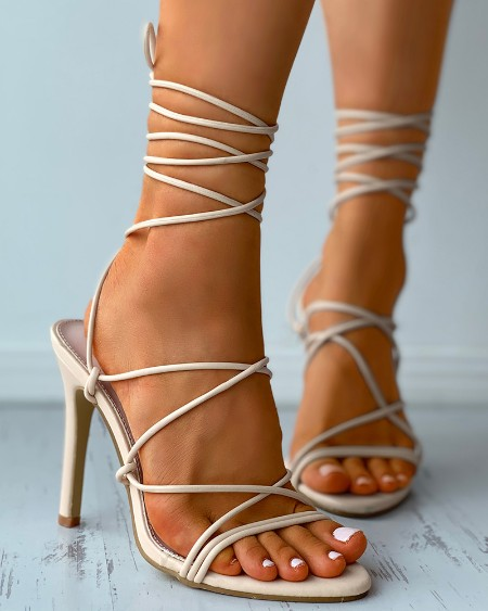 Open Pointed Toe Strappy Stiletto Heels