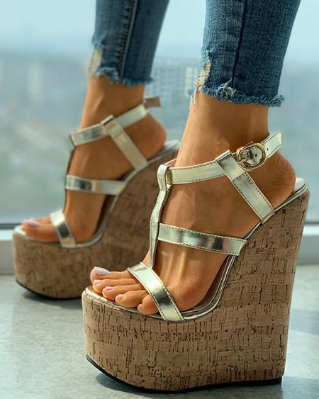Cork Multi Strap Buckled Wedge Sandals