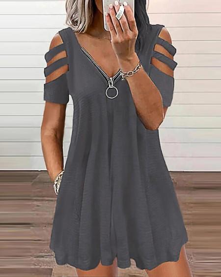 Zipper Pocket Design Short Sleeve Cutout Dress