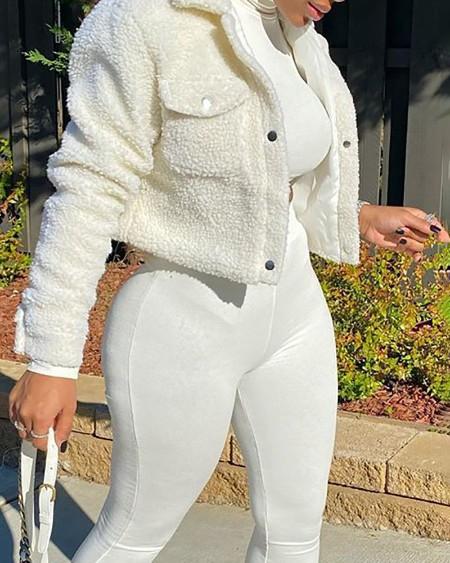 Pocket Design Long Sleeve Buttoned Teddy Coat