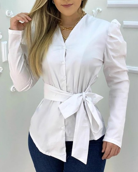 Puff Sleeve Tie Side Button Up Top