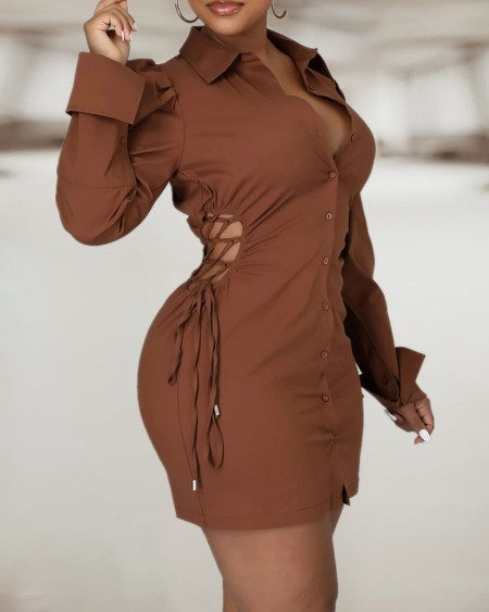 Puff Sleeve Button Design Lace Up Shirt Dress