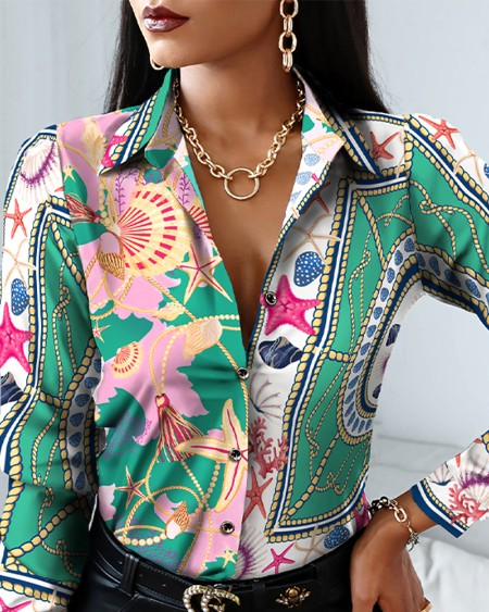 All Over Print Colorblock Button Up Top