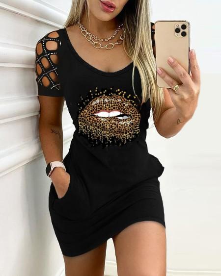 Studded Cutout Lip Pattern Pocket Design Bodycon Dress