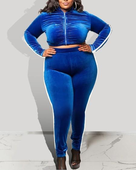 Plus Size Velvet Zip Up Crop Top & Pants Set