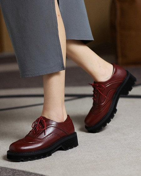 Womens Vintage Round Toe Lace-up Oxford Shoes