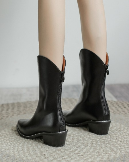 Womens Vintage Seaming Decoration Point Toe Wax Finish Western Boots