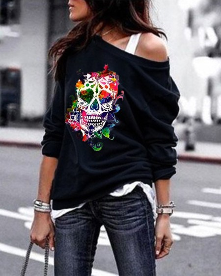 Halloween One Shoulder Long Sleeve Skull  Graphic Print Sweatshirt