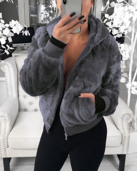 Plush Rabbit Fur Faux Fur Coat
