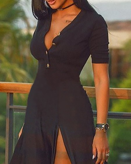 Short Sleeve Plain High Slit Maxi Dress