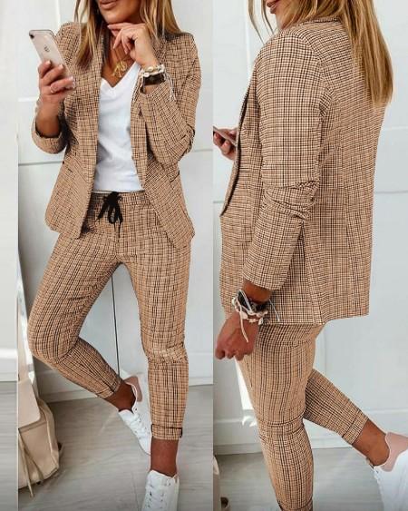 Plaid Print Blazer Coat & Drawstring Pants Set