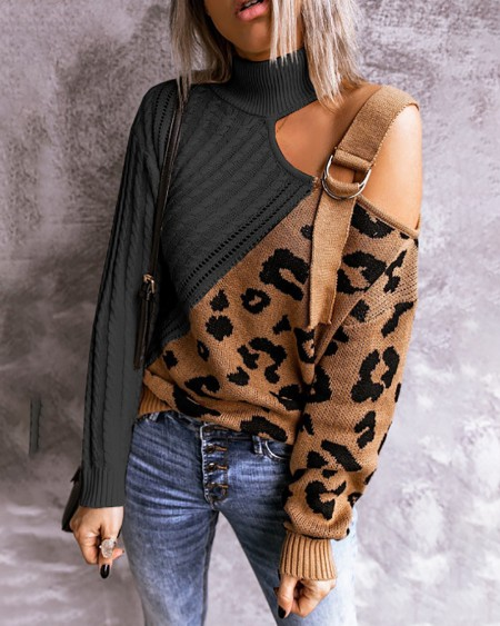 Leopard Print Cutout One Shoulder Buckle Sweater