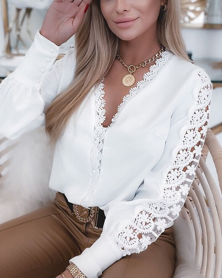 Guipure Lace Patch Long Sleeve Button Front Top
