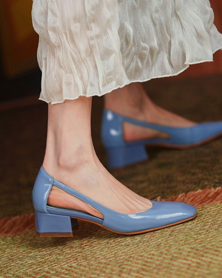 Square-toe Solid Color Lacquered Leather High Heels