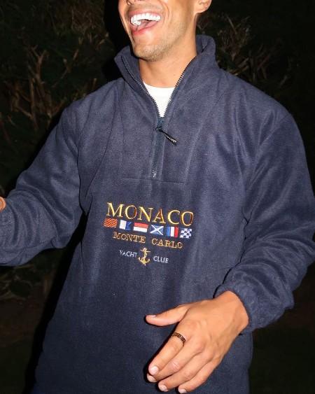Letter & National Flag Embroidery Long Sleeve Polar Fleece Polo Sweatshirt