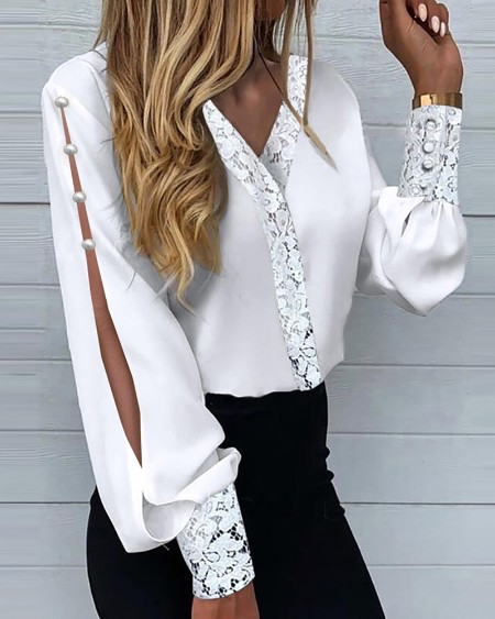 Lace Patch Buttoned Slit Lantern Sleeve Top