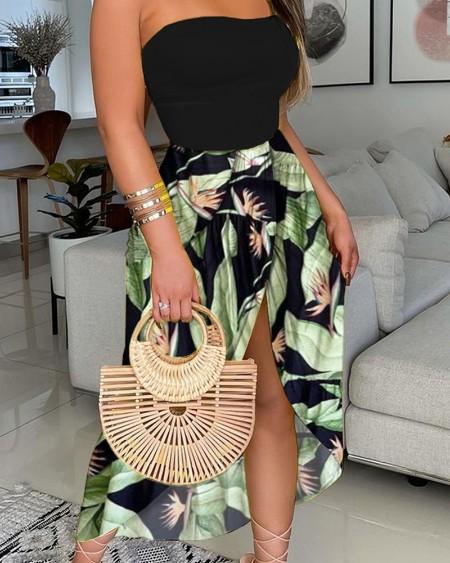 Off Shoulder Tube Plain Top & Floral Print High Slit Maxi Dress