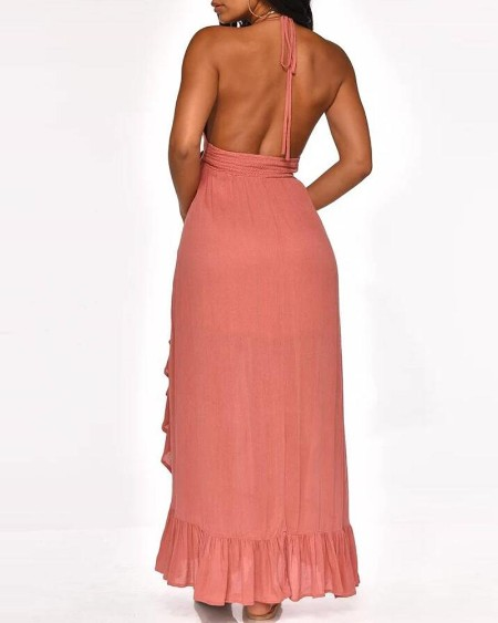 Solid Backless Cut Out Detail Ruffles Dress
