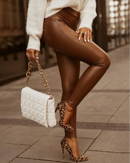 High Waist PU Leather Skinny Pants