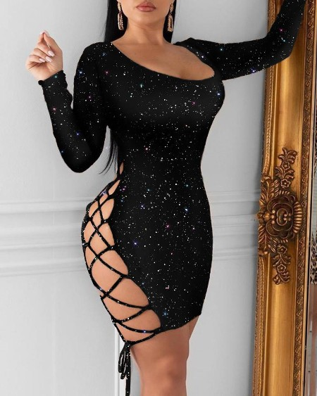 Glitter Lace-Up Long Sleeve Bodycon Dress