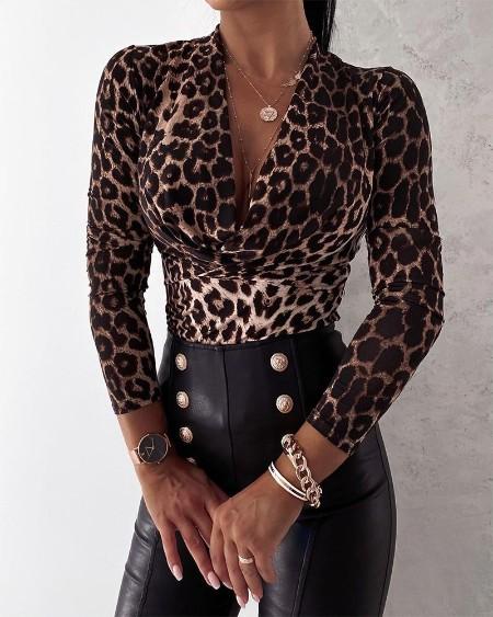 Cheetah Print V-neck Long Sleeve Top