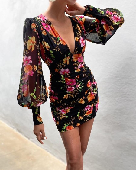 Floral Print V-neck Lantern Sleeve Tight Waist Dress
