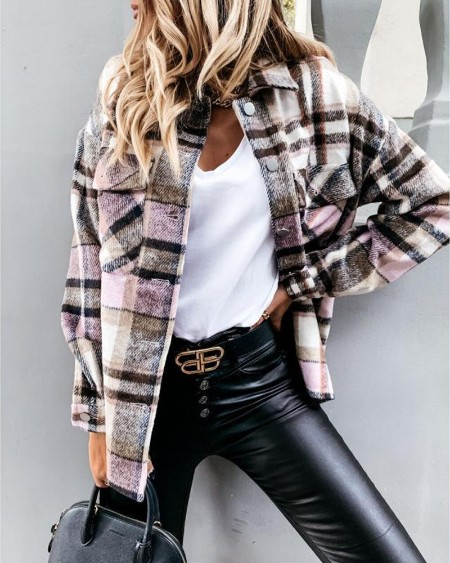 Plaid Print Button Front Long Sleeve Shacket